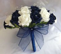 WEDDING FLOWERS NAVY BLUE / WHITE FOAM ROSE BRIDE BOUQUET CRYSTAL ARTIFICIAL